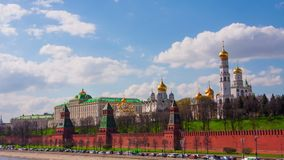 Cars go on the embankment along the Kremlin, timelapse Stock Photography