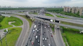 Cars go on the highway. Aerial view HD stock footage