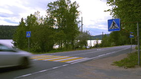 Cars go on the highway in rural areas stock video footage