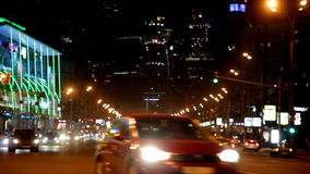 Cars go on the night street stock video footage