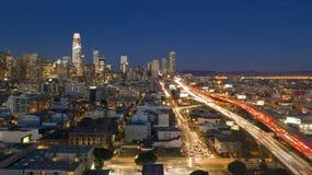 Night Rush Hour Traffic Bay Bridge San Francisco Skyline stock photography