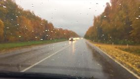 Cars go on the road asphalt. autumn beautiful view forest, raindrops on the glass car blurred background travel slow. Cars go on the road asphalt. autumn stock footage