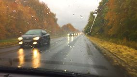 Cars go travel on the road asphalt. autumn beautiful view forest, raindrops on the glass car blurred background slow. Cars go travel on the road asphalt. autumn stock video footage