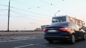 Cars go via the bridge stock video