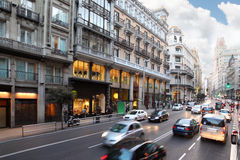 Cars on Gran Via street Royalty Free Stock Photography