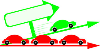 Cars graph. Green car passing by traffic jam with a place for text Stock Photo