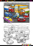 Cars group coloring book. Cartoon Illustration of Car Transport Characters Coloring Book Royalty Free Stock Image