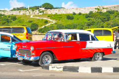 Cars of Havana, Cuba. Havana, Cuba - December 19, 2016: Retro cars populate the streets of Habana Vieja Old Havana in Cuba Stock Photos