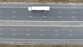 Cars on the highway aerial view stock video