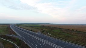Cars on the highway aerial view stock video footage