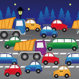 Cars on the highway. seamless vector pattern. Cars, trucks and limousines are going the highway.seamless vector pattern Royalty Free Stock Photography