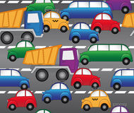 Cars on the highway. seamless vector pattern. Cars, trucks and limousines are going the highway.seamless vector pattern Stock Photography