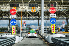 Cars on the highway of toll station stock images