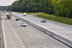 Cars on highway in traffic jam. Royalty Free Stock Photos