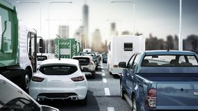 Cars on highway in traffic jam 3d render sity landscape. Cars on highway in traffic jam 3d render sity stock illustration