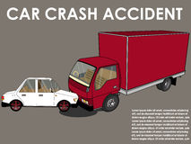 Cars hit head truck. Car crash. cars hit head truck. Flat design Stock Image