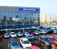 Cars on the holding yard Hyundai in Vilnius city Royalty Free Stock Photo