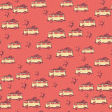 Cars for holiday on seamless background. For summer design. Summer pattern background. Vacation poster vector illustration