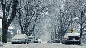Cars And Houses In Heavy Snowfall stock video
