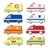 Cars icon set: ambulance, police, fire truck, taxi, service vehicle. Set of different types of automobiles icons in vector. Van symbols - ambulance, police car Royalty Free Stock Photos