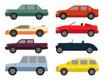 Cars icon set. In flat colors style. Eight passenger vehicles with different types of body isolated on white background. Modern vector design Stock Illustration