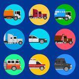 Cars icons on a blue background. Cars icons with cargo and shipping trucks and service vihicles Royalty Free Stock Photos