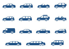 Cars icons set. Vector silhouettes. Of vehicles Royalty Free Stock Image
