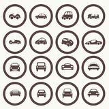 Cars icons set different  car forms. Royalty Free Stock Photography