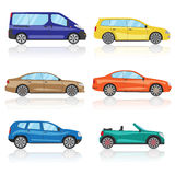 Cars icons set. 6 different colorful 3d sports car icon. Car vector Royalty Free Stock Image