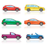 Cars icons set. 6 different colorful 3d sports car icon. Car vector Royalty Free Stock Photos