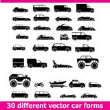 Cars icons set . 30 different vector car forms Royalty Free Stock Photos