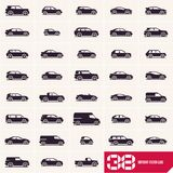 Cars icons set, different vector car types stock illustration