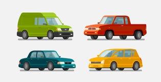Cars, icons set. Transport, transportation, vehicle concept. Vector illustration Stock Photos