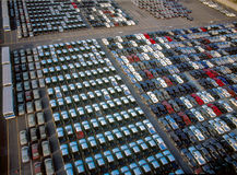 Cars industrial ship yard. Cars waiting in the port to be loading in to the ship Stock Photos