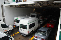 Cars inside ferry Stock Photos