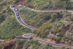 Cars jam on curvy road to Masca village in Tenerife royalty free stock photo