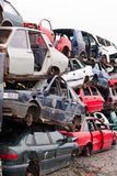 Cars in junkyard Stock Image
