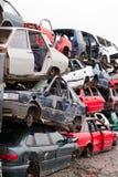 Cars in junkyard. Piled up destroyed cars in the junkyard Stock Image