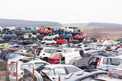 Cars in junkyard. Piled up destroyed cars in the junkyard Royalty Free Stock Photos