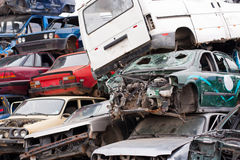 Cars in junkyard. Piled up destroyed cars in the junkyard Stock Photography