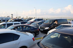 Cars on the Kerch Strait Royalty Free Stock Photo