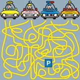 Cars-labyrinth. A game for children and adults. Find your way to the parking lot Royalty Free Stock Photos