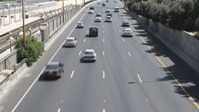 Cars on lanes of highway. Tel aviv ayalon. Cars on lanes of highway stock video footage