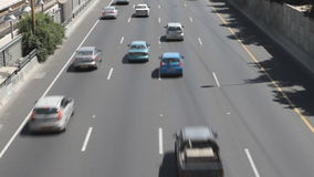 Cars on lanes of highway stock footage