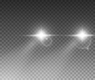 Cars light effect. White glow car headlight bright beams ray isolated on transparent background.  royalty free illustration