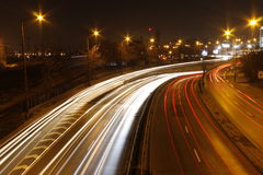 Cars light. Night look from the bridge Stock Photos