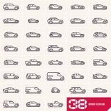 Cars line icons set, different vector car types linear silhouettes, car logo deign royalty free illustration