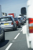 Cars Lined Up In A Traffic Jam On Highway Royalty Free Stock Photos