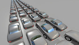 Cars in long queues Royalty Free Stock Photography