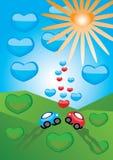 Cars in love Stock Image